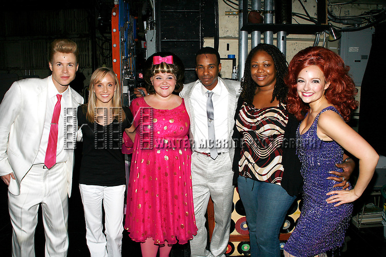 ***Exclusive Coverage***.Ashley Parker Angel, Nastia Liukin (2008 Olympic Individual All-around gold Medalist), Annie Funke, Tevin Campbell, Gwen Stewart ( original & final cast member of RENT ) and Niki Scalera.backstage  at HAIRSPRAY at the Neil Simon Theatre in New York City..September 11, 2008.© Walter McBride /
