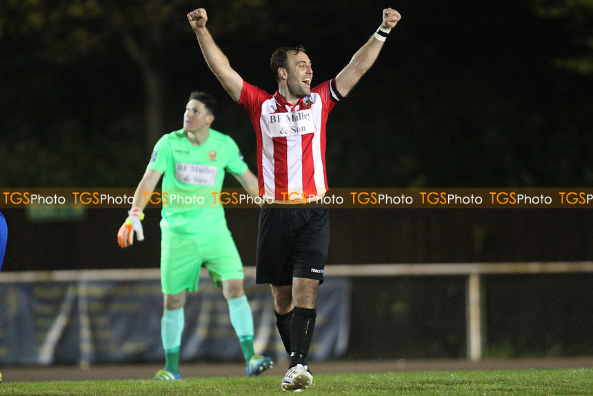 Elliot Styles of Hornchurch celebrates at the final whistle during AFC Hornchurch vs Aveley, Bostik League Division 1 North Football at Hornchurch Stadium on 20th April 2018