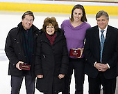 Raymond and Linda Davis, parents of Boston College's Lisa Davis, Harvard University's AJ Mleczko, Joe Bertagna - The Boston College Eagles defeated the Harvard University Crimson 3-1 to win the 2011 Beanpot championship on Tuesday, February 15, 2011, at Conte Forum in Chestnut Hill, Massachusetts.