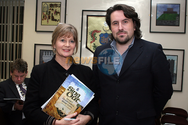 Pádraigín Ní Uallachaín and Brian Harten at the Launch of Sean Corcoran's new Song Book in the Millmount Centre...Photo NEWSFILE/Jenny Matthews.(Photo credit should read Jenny Matthews/NEWSFILE)....This Picture has been sent you under the condtions enclosed by:.Newsfile Ltd..The Studio,.Millmount Abbey,.Drogheda,.Co Meath..Ireland..Tel: +353(0)41-9871240.Fax: +353(0)41-9871260.GSM: +353(0)86-2500958.email: pictures@newsfile.ie.www.newsfile.ie.FTP: 193.120.102.198.