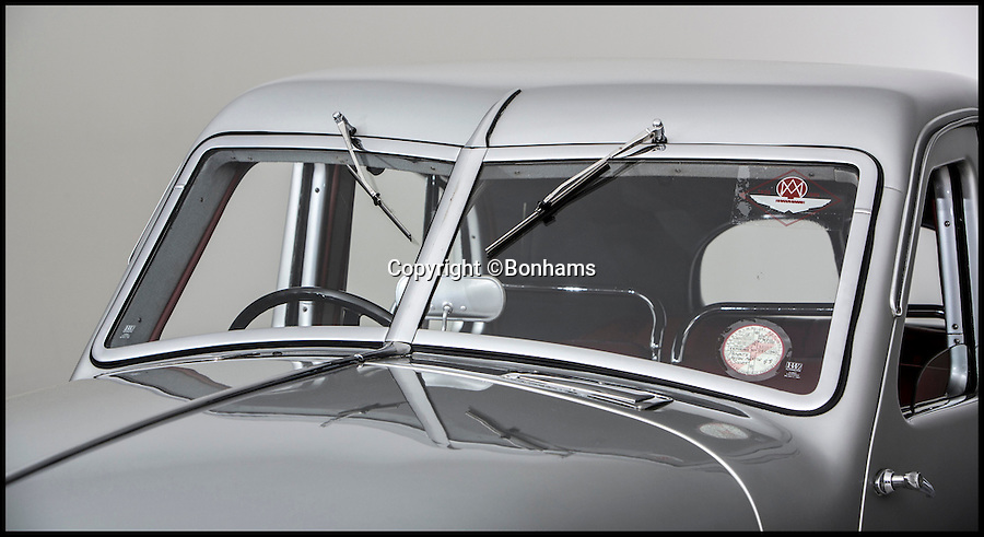 BNPS.co.uk (01202 558833)<br /> Pic: Bonhams/BNPS<br /> <br /> ***Please use full byline***<br /> <br /> A one-of-a-kind concept car made by famous British brand Aston Martin during World War II is expected to fetch a whopping &pound;1 million  when it goes under the hammer in a Bonhams auction at Goodwood Festival of Speed on June 27. .<br /> <br /> The stunning Aston Martin Atom is regarded as one of the most important cars in the history of British motoring.<br /> <br /> The 74-year-old motor is considered to be Britain's first ever concept car, showcasing a design and engineering that was way ahead of its time.<br /> <br /> It was unveiled in 1940 when the country was in the thick of war, launching just six weeks after the infamous evacuation of Dunkirk.<br /> <br /> The futuristic car was one of only 750 private cars registered in the UK that year at a time when any spare metal was being melted down to fuel the war effort.<br /> <br /> It has been put up for sale by classic car collector Tom Rollason who previously displayed it at the Heritage Motor Centre in Gaydon, Warks.