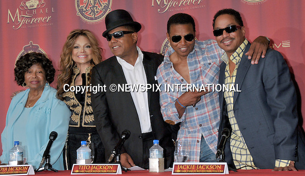 """MICHAEL JACKSON TRIBUTE CONCERT.Katherine Jackson, La Toya Jackson, Tito Jackson, Jackie Jackson and Marlon Jackson announce a tribute concert to Michael Jackson, Beverly Hills Hotel, Beverly Hills, California_25/07/2011.The concert will take place in Cardiff, Wales on 8th October 2011..Mandatory Photo Credit: ©Crosby/Newspix International. .**ALL FEES PAYABLE TO: """"NEWSPIX INTERNATIONAL""""**..PHOTO CREDIT MANDATORY!!: NEWSPIX INTERNATIONAL(Failure to credit will incur a surcharge of 100% of reproduction fees).IMMEDIATE CONFIRMATION OF USAGE REQUIRED:.Newspix International, 31 Chinnery Hill, Bishop's Stortford, ENGLAND CM23 3PS.Tel:+441279 324672  ; Fax: +441279656877.Mobile:  0777568 1153.e-mail: info@newspixinternational.co.uk"""