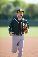 Oakland Athletics shortstop Nick Allen (1) jogs off the field between innings of an Instructional League game against the Los Angeles Dodgers at Camelback Ranch on October 4, 2018 in Glendale, Arizona. (Zachary Lucy/Four Seam Images)