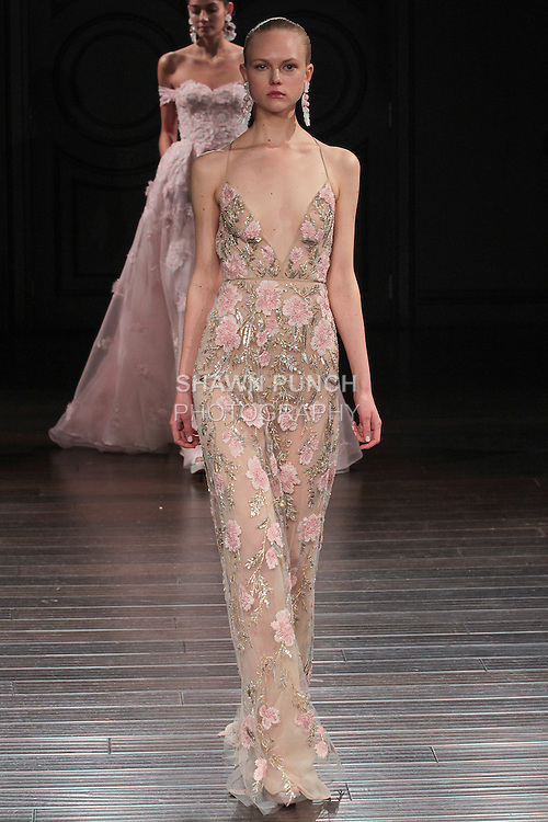Model walks runway in a Kyoto bridal gown from the Naeem Khan Bridal Spring 2017 collection at 260 West 36 Street, during New York Bridal Fashion Week Spring Summer 2017 on April 16, 2016.