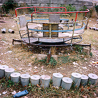 After that the Azeri have left Chouchi in 1994, they left many bombs in the Saint Sauveur church. Once the church has been rebuilt after the war, children are using the metallic structures from the rest of the bombs for their playground.
