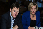 © Joel Goodman - 07973 332324 . 15/01/2015 . Stockport , UK . Deputy Prime Minister Nick Clegg (l) meets with Lisa Smart (r) (Lib Dem PPC for Hazel Grove) and members of High Lane Residents' Association , at the Red Lion Inn , High Lane , Hazel Grove . Photo credit : Joel Goodman