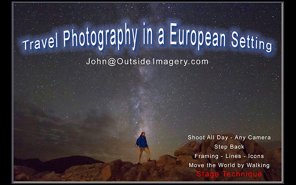 These European photos are an introduction to John Kieffer&rsquo;s 30 years as a professional photographer, teacher and writer based in Boulder, Colorado, USA. <br /> John is looking for work in Europe in tourism, the photography industry and education. John will be in Europe June through September 2018.<br /> John@OutsideImagery.com   +1 720-244-7940