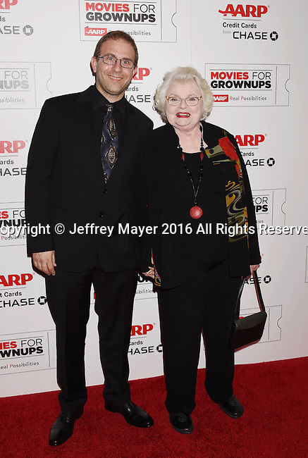 BEVERLY HILLS, CA - FEBRUARY 08: Director Harry Kakatsakis (L) and actress June Squibb attend AARP's Movie For GrownUps Awards at the Regent Beverly Wilshire Four Seasons Hotel on February 8, 2016 in Beverly Hills, California.