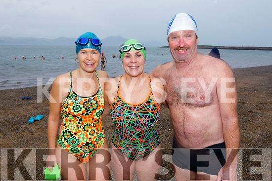 Antoinette Boyd, Elaine Burrows Dillane and Ger McDonnell ready to take the Polar Plunge in aid of Special Olympics Ireland in Fenit on Sunday morning.
