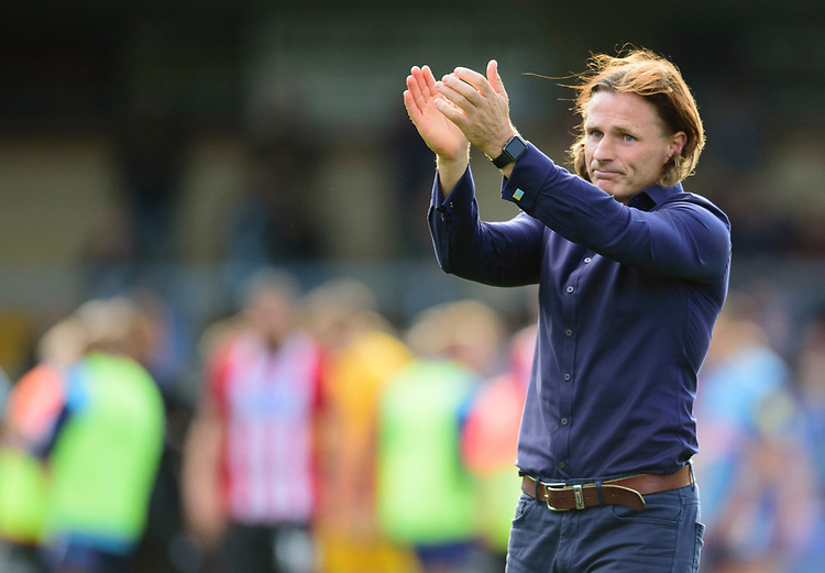 Wycombe Wanderers manager Gareth Ainsworth applauds the Lincoln City fans<br /> <br /> Photographer Andrew Vaughan/CameraSport<br /> <br /> The EFL Sky Bet League One - Wycombe Wanderers v Lincoln City - Saturday 7th September 2019 - Adams Park - Wycombe<br /> <br /> World Copyright © 2019 CameraSport. All rights reserved. 43 Linden Ave. Countesthorpe. Leicester. England. LE8 5PG - Tel: +44 (0) 116 277 4147 - admin@camerasport.com - www.camerasport.com