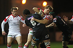Dragons number 8 Toby Faletau stops Ulster wing Andrew Trimble in his tracks..Celtic Laegue.Newport Gwent Dragons v Ulster.Rodney Parade.26.10.12.©Steve Pope