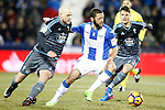 CD Leganes' David Timor (c) and Celta de Vigo's John Guidetti (l) and Nemanja Radoja during La Liga match. January 28,2017. (ALTERPHOTOS/Acero)