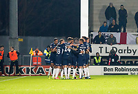 3rd December 2019; Pirelli Stadium, Burton Upon Trent, Staffordshire, England; English League One Football, Burton Albion versus Southend United; Stephen McLaughlin of Southend United celebrates with his team after scoring in the 21st minute 0-1 - Strictly Editorial Use Only. No use with unauthorized audio, video, data, fixture lists, club/league logos or 'live' services. Online in-match use limited to 120 images, no video emulation. No use in betting, games or single club/league/player publications