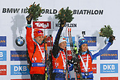 8th December 2017, Biathlon Centre, Hochfilzen, Austria; IBU Womens Biathlon World Cup; Podium with from left Anastasiya Kuzmina, Darya Domracheva and Dorothea Wierer