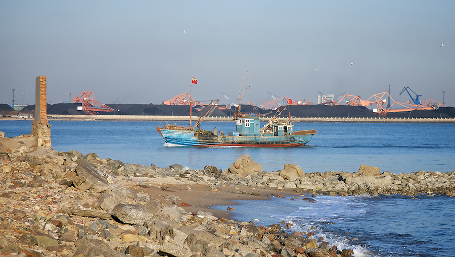 Kailan Mining Administration Buildings And Related Infrastructure - Coal Piles Visible From Across The Small River Estuary, Qinhuangdao (Chinwangtao).