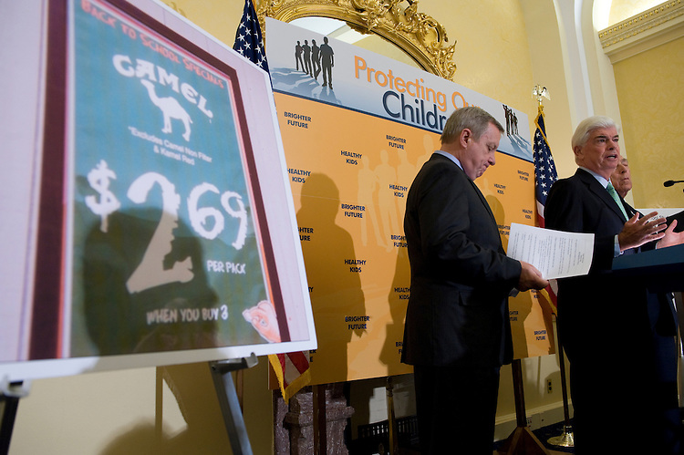 Senate Assistant Majority Leader Richard Durbin, D-Ill.; Senate Banking Chairman Christopher Dodd, D-Conn. and Frank Lautenberg, D-NJ., during a press event for the  Campaign for Tobacco-Free Kids in the U.S. Capitol. June 3, 2009.