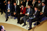 Davide Casaleggio, Alessandro di Battista, Virginia Raggi and Giuseppe Conte<br /> Rome January 22nd 2019. Convention of the Movement 5 Stars party to explain the Basic Income Law just approved.<br /> Foto Samantha Zucchi Insidefoto