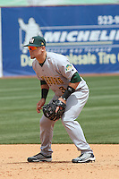 Cody Puckett #3 of the Lynchburg Hillcats playing 2nd base during a game against the Kinston Indians at Granger Stadium on April 28, 2010 in Kinston, NC. Photo by Robert Gurganus/Four Seam Images.