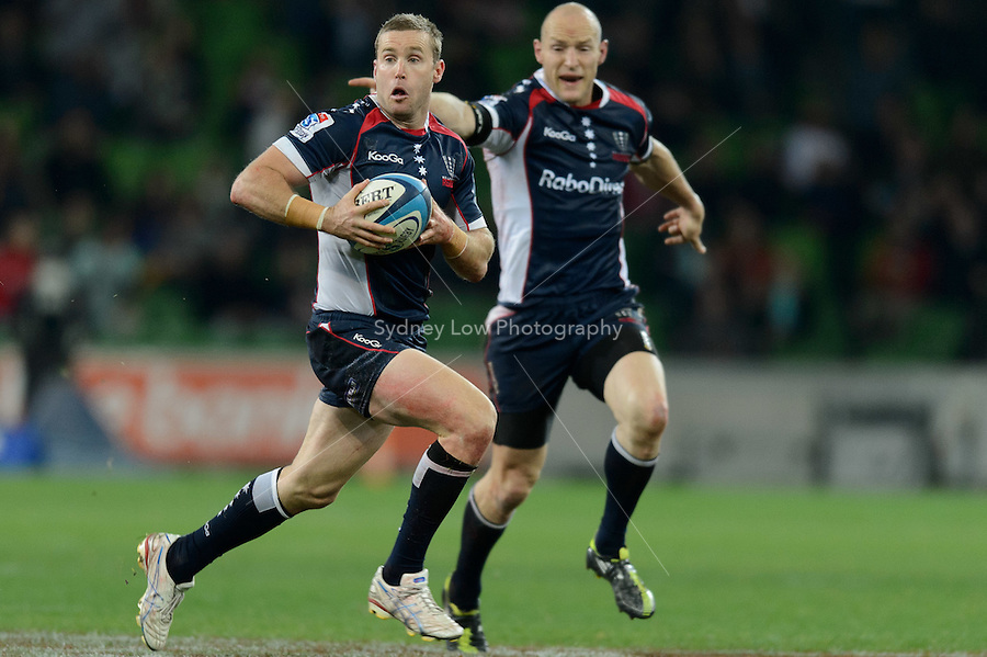 MELBOURNE, AUSTRALIA - JUNE 01: James Hilgendorf of the Rebels runs with the ball during round 15 of the Super Rugby match between the RaboDirect Rebels and the Brumbies at AAMI Park in Melbourne, Australia. Photo Sydney Low. Please contact ZUMA Press zumapress.com for editorial licensing.