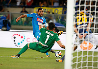 Faouzi Ghoulam shoots and scores during the  italian serie A soccer match,between Hellas Verona and SSC Napoli  at  the Bentegodi    stadium in Verona  Italy , August 19, 2017