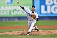 Asheville Tourists starting pitcher Riley Pint (27) delivers a pitch during game one of a double header against the Charleston RiverDogs at McCormick Field on April 9, 2019 in Asheville, North Carolina. The Tourists defeated the RiverDogs 17-3. (Tony Farlow/Four Seam Images)