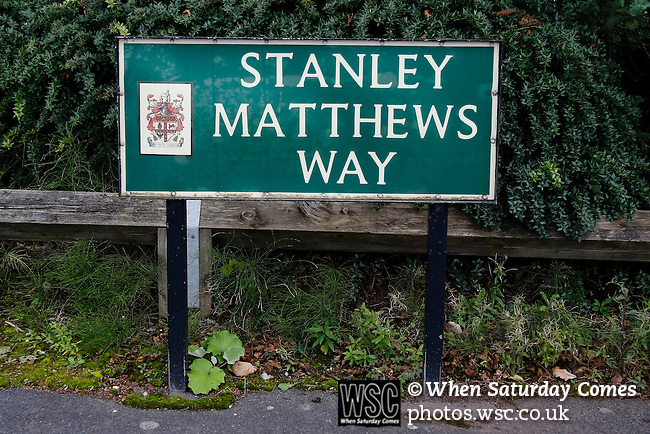 Stoke City 1 West Bromwich Albion 1, 24/09/2016. Bet365 Stadium, Premier League. Stanley Matthews road sign. Photo by Paul Thompson.