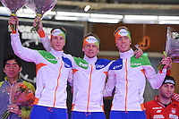 SCHAATSEN: BERLIJN: Sportforum, 07-12-2013, Essent ISU World Cup, podium Team Pursuit, Jan Blokhuijsen, Douwe de Vries, Jorrit Bergsma (NED), ©foto Martin de Jong