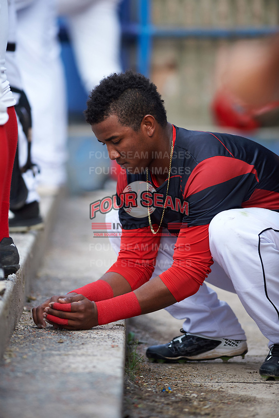 Batavia Muckdogs Marcos Rivera (8) catches a frog in the dugout during a game against the Tri-City ValleyCats on July 14, 2017 at Dwyer Stadium in Batavia, New York.  Batavia defeated Tri-City 8-4.  (Mike Janes/Four Seam Images)