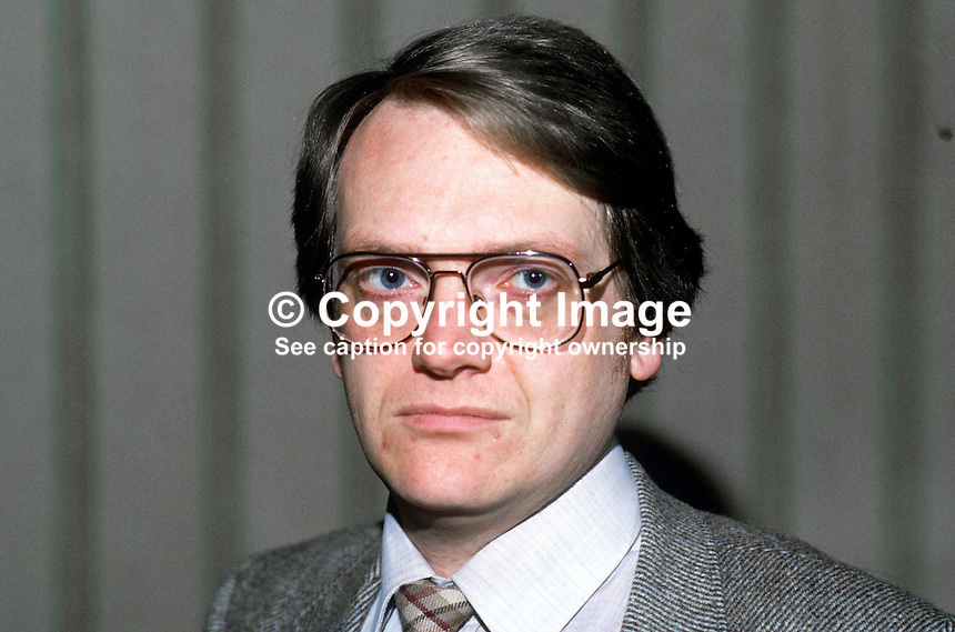 Peter Gibson, prominent member, East Belfast, N Ireland, SDLP, Social Democratic &amp; Labour Party, 19851108PG1.<br /> <br /> Copyright Image from Victor Patterson, 54 Dorchester Park, Belfast, UK, BT9 6RJ<br /> <br /> t1: +44 28 9066 1296<br /> t2: +44 28 9002 2446<br /> m: +44 7802 353836<br /> <br /> e1: victorpatterson@me.com<br /> e2: victorpatterson@gmail.com<br /> <br /> www.victorpatterson.com<br /> <br /> IMPORTANT: Please see my Terms and Conditions of Use at www.victorpatterson.com