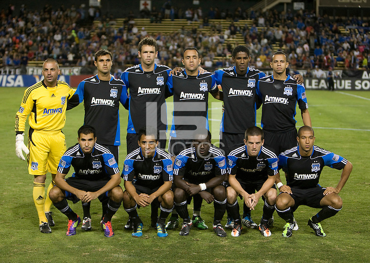 San Jose Earthquakes Starting XI pose together for group photo before the game against Kansas City at Buck Shaw Stadium in Santa Clara. California on October 1st, 2011.  San Jose Earthquakes tied Sporting Kansas City, 1-1.