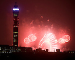 New Year's 2010 2011.Fireworks as seen from Primrose Hill in North London.Also magic lanterns.....pic by Gavin Rodgers/ Pixel 8000.07917221968