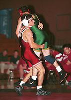 Rudy Ruiz in action during the 1999 wrestling season in Burnham Pavilion in Stanford, CA.