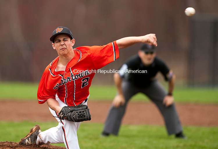 BEACON FALLS, CT-041117JS09- Watertown's Steven Phillips (2) delivers a pitch during their game against Woodland Wednesday at Woodland Regional High School in Beacon Falls. <br /> Jim Shannon Republican-American