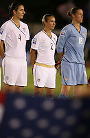 Yael Averbuch, Heather Mitts and Jill Loyden of United States. The US Women's National Team defeated Haiti 5-0 during the CONCACAF Women's World Cup Qualifying tournament at Estadio Quintana Roo in Cancun, Mexico on October 28th, 2010.