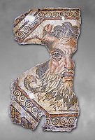 2nd century AD Roman mosaic depictiong Neptune. From Augusti (Sidi El Heni), Tunisia.  The Bardo Museum, Tunis, Tunisia. Grey background