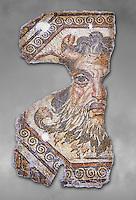 2nd century AD Roman mosaic depictiong Neptune. From Augusti (Sidi El Heni), Tunisia.  The Bardo Museum, Tunis, Tunisia. Grey background