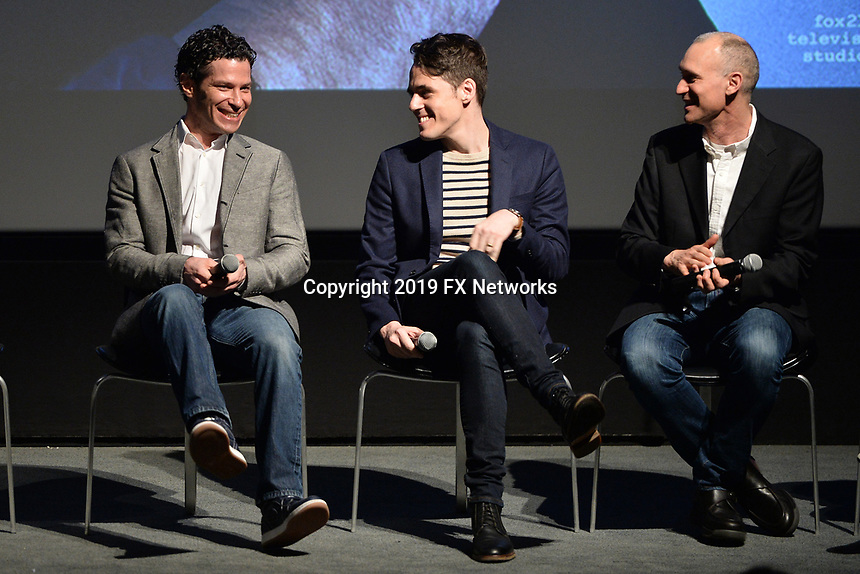 "NEW YORK - APRIL 7: (L-R) Thomas Kail, Steve Levenson and Joel Fields attend a Q&A after the screening of FX's ""Fosse Verdon"" presented by FX Networks, Fox 21 Television Studios, and FX Productions at the Museum of Modern Art on April 7, 2019 in New York City. (Photo by Anthony Behar/FX/PictureGroup)"