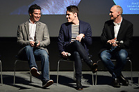 """NEW YORK - APRIL 7: (L-R) Thomas Kail, Steve Levenson and Joel Fields attend a Q&A after the screening of FX's """"Fosse Verdon"""" presented by FX Networks, Fox 21 Television Studios, and FX Productions at the Museum of Modern Art on April 7, 2019 in New York City. (Photo by Anthony Behar/FX/PictureGroup)"""