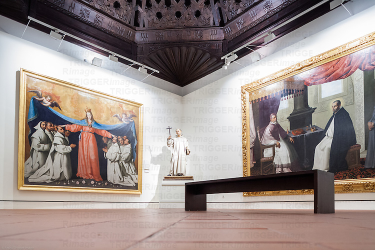 Room X, exhibiting paintings by Francisco de Zurbaran, Museum of Fine Arts, Seville, Spain