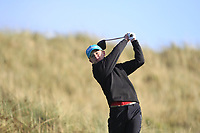 Keaton Morrison (Greenacres) on the 11th tee during Round 3 of the Ulster Boys Championship at Royal Portrush Golf Club, Valley Links, Portrush, Co. Antrim on Thursday 1st Nov 2018.<br /> Picture:  Thos Caffrey / www.golffile.ie<br /> <br /> All photo usage must carry mandatory copyright credit (&copy; Golffile | Thos Caffrey)