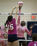 Marymount's Morgan McAlpin goes up for a block during a college volleyball match against Shenandoah at Marymount University in Arlington, Vir., on Tuesday, Oct. 8, 2013.<br /> Photo by Cathleen Allison