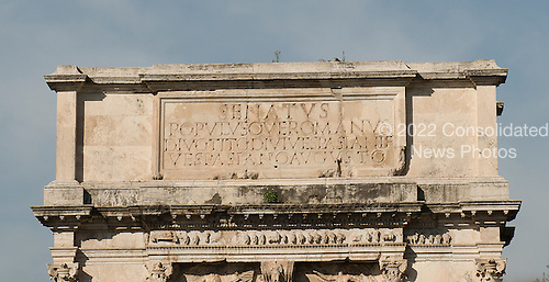 The Arch of Titus, located on the Via Sacra, just to the south-east of the Roman Forum in Rome, Italy, which was built to commemorate Titus's victory in Judea, depicts a Roman victory procession with soldiers carrying spoils from the Temple, including the Menorah, which were used to fund the construction of the Colosseum, on Wednesday, October 23, 2013.  The arch was constructed c. 82 AD by the Roman Emperor Domitian shortly after the death of his older brother Titus to commemorate Titus' victories, including the Siege of Jerusalem in 70 AD. The Arch is said to have provided the general model for many of the triumphal arches erected since the 16th century&mdash;perhaps most famously it is the inspiration for the 1806 Arc de Triomphe in Paris, France, completed in 1836. The inscription reads &quot;The Roman Senate and People (dedicate this) to the divine Titus Vespasianus Augustus, son of the divine Vespasian.&quot;<br /> Credit: Ron Sachs / CNP