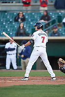 Lancaster JetHawks pinch hitter Sean Bouchard (7) during a California League game against the Lake Elsinore Storm on April 10, 2019 at The Hangar in Lancaster, California. Lake Elsinore defeated Lancaster 10-0 in the first game of a doubleheader. (Zachary Lucy/Four Seam Images)