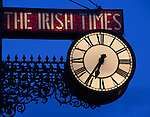 The illuminated Irish Times Clock, Townsend Street, Dublin. The clock was formerly on the old Irish Times office on D'Olier Street, but is now at the new Tara Street/Townsend Street office. .Before D'Olier St, the clock had been on the building at 31 Westmoreland Street. The Irish Times had an in-house newsletter called 'Under the Clock',