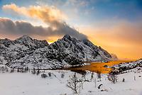 Winter landscape, near Tangstad, Lofoten Islands, Arctic, Northern Norway.