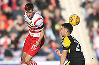 Doncaster Rovers' Joe Wright in action with Rotherham United's Joe Newell<br /> <br /> Photographer Mick Walker/CameraSport<br /> <br /> The EFL Sky Bet League One - Doncaster Rovers v Rotherham United - Saturday 11th November 2017 - Keepmoat Stadium - Doncaster<br /> <br /> World Copyright &copy; 2017 CameraSport. All rights reserved. 43 Linden Ave. Countesthorpe. Leicester. England. LE8 5PG - Tel: +44 (0) 116 277 4147 - admin@camerasport.com - www.camerasport.com