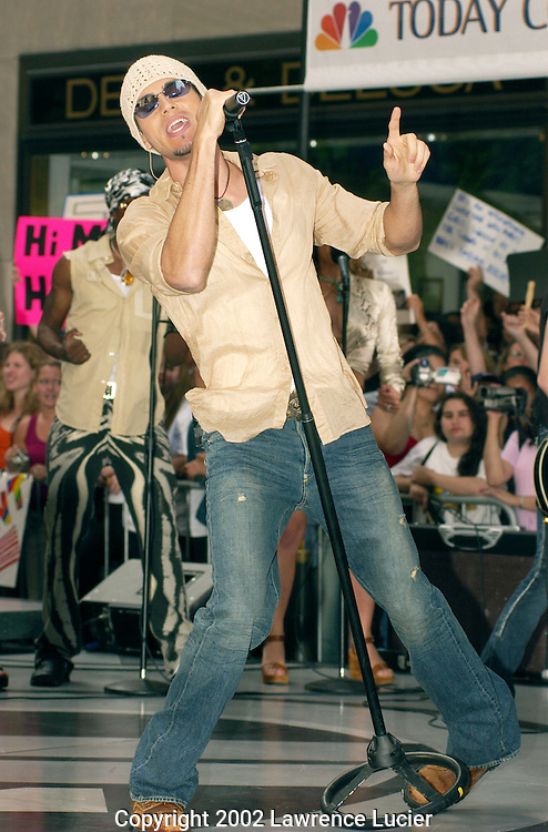 "Recording artist Enrique Iglesias performs at the Today Show Weekly Concert Series June 28, 2002 in Manhattan.  His latest album is called ""Escape."""