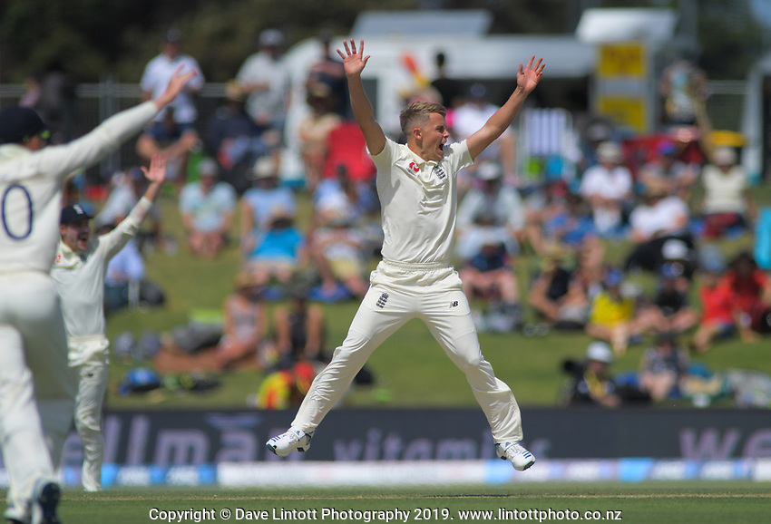 England's Sam Curran appeals for the wicket of NZ's Tom Latham during day two of the international cricket 1st test match between NZ Black Caps and England at Bay Oval in Mount Maunganui, New Zealand on Friday, 22 November 2019. Photo: Dave Lintott / lintottphoto.co.nz