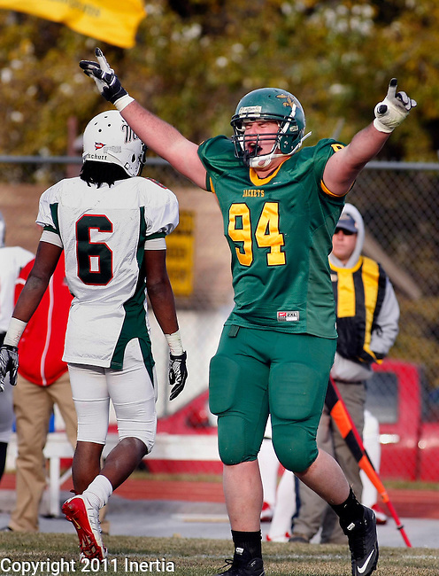 SPEARFISH S.D. -- November 5, 2011 -- Sterling Boylan #94 of Black HIlls State University celebrates after the Yellow Jackets defeated Minot State University Saturday at Lyle Hare Stadium in Spearfish, SD.  (Photo by Dick Carlson/Inertia)