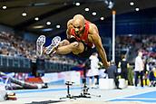 2nd February 2019, Karlsruhe, Germany;  Long Jump Men: Julien Howard (GER). IAAF Indoor athletics meeting, Karlsruhe